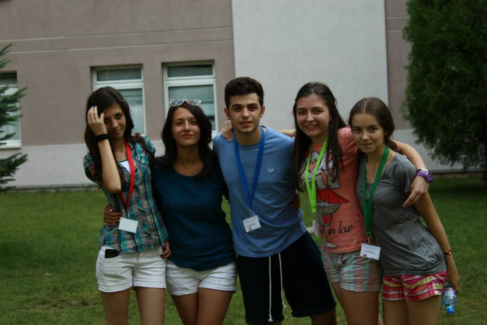 Ivelina with her new friends from the AUBG summer camp